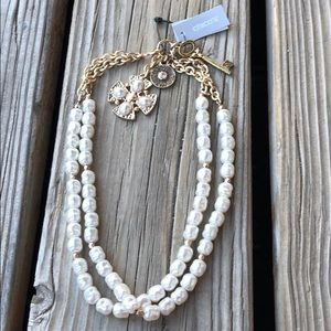 Chico's Baroque Pearl Tiered Charm Necklace BNWT!
